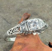 Antique Style Sterling Silver Filigree .25ct Cubic Zirconia Ring