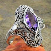Antique Style Sterling Silver Filigree Marquise Gemstone Ring