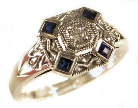 Art Deco Style Sterling Silver Filigree Sapphire & Cubic Zirconia Ring