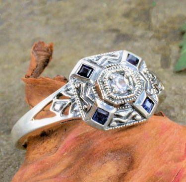 Art Deco Style Sterling Silver Filigree 2.25mm Semi Set Ring with Sapphire Accents