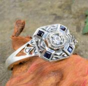 Art Deco Style Sterling Silver Filigree Blue & White Topaz Ring