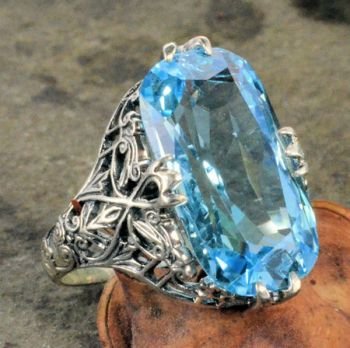 Vintage Style Sterling Silver Filigree 6.5ct Blue Topaz Ring