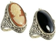Art Deco Style Sterling Silver Filigree Lapis or  Cameo & Onyx Flip Ring