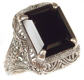 Vintage Style Sterling Silver Filigree Gemstone Ring