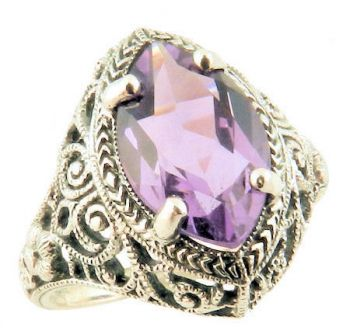 Vintage Style Sterling Silver Filigree Gemstone Ring