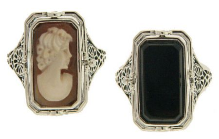 Art Deco Style Sterling Silver Filigree Cameo & Onyx Flip Ring