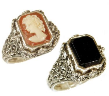 Art Deco Style Sterling Silver Filigree Cameo & Tablet Flip Ring