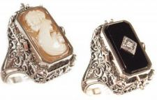 Art Deco Style Sterling Silver Filigree Cameo, Onyx & Diamond Flip Ring