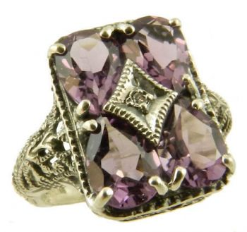 Vintage Style Sterling Silver Filigree Gemstone & Diamond Ring