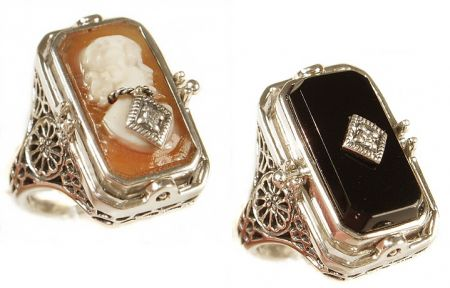 Art Deco Style Sterling Silver Filigree Cameo w/ Diamond & Onyx Flip Ring