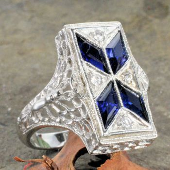 Art Deco Style Sterling Silver Filigree Synthetic Sapphire & Cubic Zirconia Ring