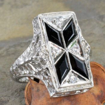 Art Deco Style Sterling Silver Filigree Black Onyx & Cubic Zirconia Ring