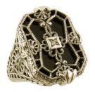 Art Deco Style Sterling Silver Filigree Frosted Quartz, Lapis or Onyx & Diamond Ring