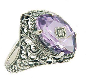 Vintage Style Sterling Silver Filigree Gemstone & Diamond Ring