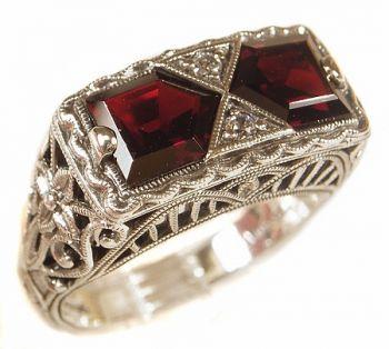 Art Deco Style Sterling Silver Filigree Gemstone & Cubic Zirconia Ring