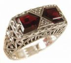 Art Deco Style Sterling Silver Filigree Gemstone & Cubic Zirconia Ring