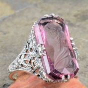 Art Deco Style Sterling Silver Filigree Amethyst Crystal Intaglio Ring