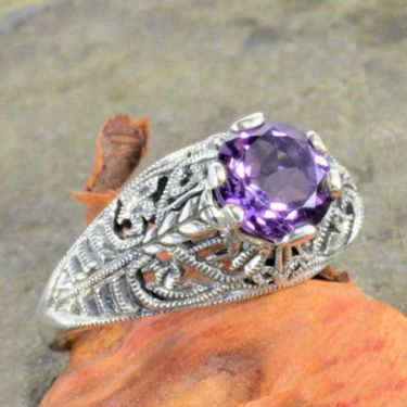Vintage Style Sterling Silver Filigree 1.20ct Amethyst Ring