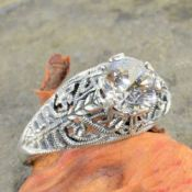 Vintage Style Sterling Silver Filigree 1.25ct Cubic Zirconia Ring