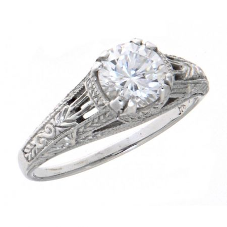 Antique Style Sterling Silver .75ct Cubic Zirconia Filigree Trellis Ring