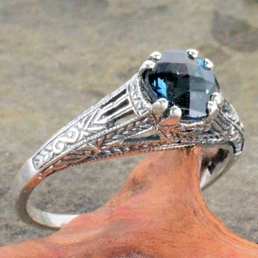 Antique Style Sterling Silver Filigree 1.10ct Checkerboard Cut London Blue Topaz Ring