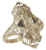 Art Deco Style Sterling Silver Filigree Sapphire and White Topaz Ring