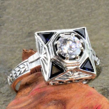 Art Deco Style Sterling Silver Filigree .50ct Cubic Zirconia & Trillion Sapphire Ring