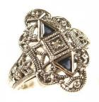 Art Deco Style Sterling Silver Filigree Sapphire & Diamond Ring