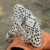 Vintage Style Sterling Silver Filigree Diamond Accent Ring