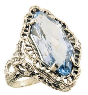 Art Deco Style Silver Filigree Fancy Cut Amethyst or Blue Topaz Ring