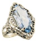 Art Deco Style Silver Filigree Fancy Cut Amethyst or Blue Topaz Ring
