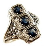 Art Deco Style Sterling Silver  Filigree 3 Stone Ring