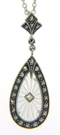 Art Deco Style Sunray Crystal Camphor Glass & Marcasite Pendant in Sterling Silver