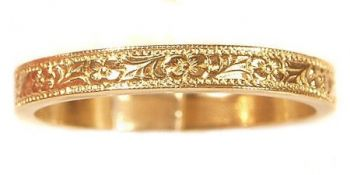 Vintage Style 3.0mm Floral Patterned Wedding Band