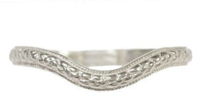 Vintage Style 2.5mm Curved Floral Wedding Band