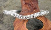 Vintage Style Sterling Silver 2.3mm Curved Floral Patterned Wedding Band