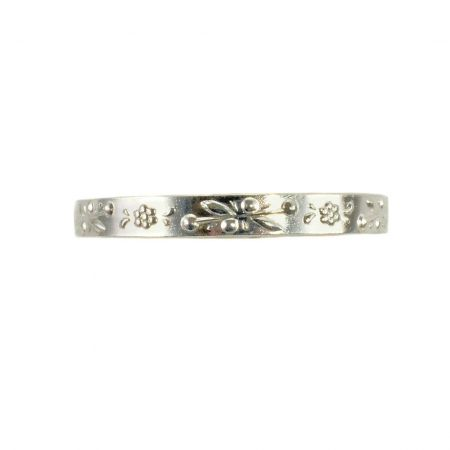 Antique Style 3mm Floral Patterned Wedding Band | Stacking Band | Sterling Silver