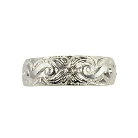 Antique Style 6mm Floral Patterned Wedding Band | Stacking Band | Sterling Silver