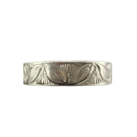 Antique Style 5mm Leaf Patterned Wedding Band | Stacking Band | Sterling Silver