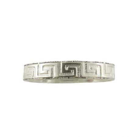 Vintage Style 3.5mm Greek Key Patterned Wedding Band | Stacking Band | Sterling Silver