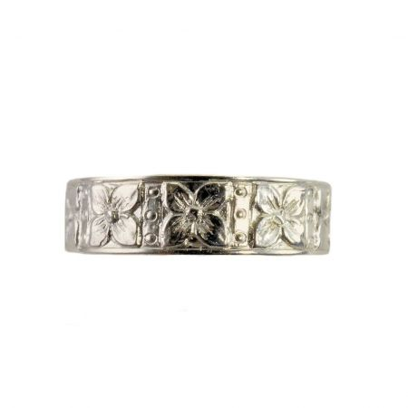 Antique Style 5.5mm Dogwood Patterned Wedding Band | Stacking Band | Sterling Silver