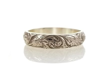 Antique Style 4.5mm Forget Me Not Floral Patterned Wedding Band | Stacking Band | Sterling Silver