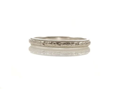 Antique Style 2mm Orange Blossom Patterned Wedding Band | Stacking Band | Sterling Silver