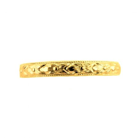 Antique Style Gold 3mm Orange Blossom Wedding Band | Yellow, White or Rose Gold