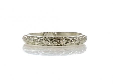 Antique Style 2.75mm Orange Blossom Patterned Wedding Band | Stacking Band | Sterling Silver