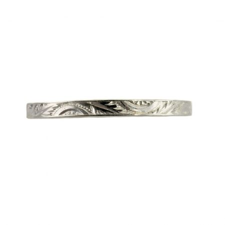Antique Style 2.0mm Leaf Patterned Wedding Band | Stacking Band | Sterling Silver