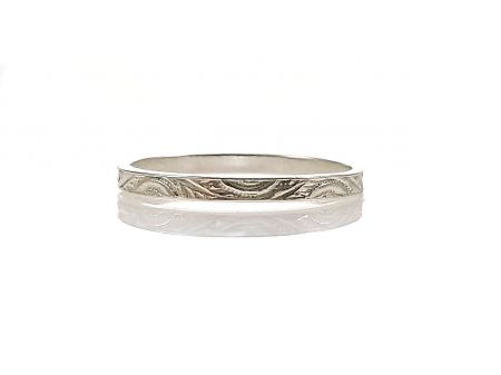 Antique Style 2.0mm Leaf Patterned Wedding Band | Midi Band | Sterling Silver