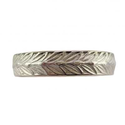 Antique Style 4.7mm Wheat Patterned Wedding Band | Stacking Band | Sterling Silver