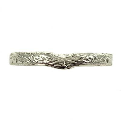 Antique Style 3mm Wide Scroll Pattern Curved Wedding Band | Sterling Silver