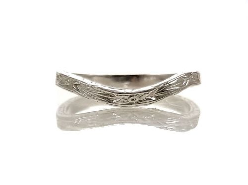 Antique Style 2mm Curved Wedding Band | Floral Blossom Pattern | Sterling Silver